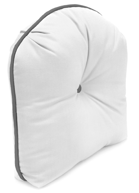 Tucked Corner Curved Back Cushion with Contrasting Welt